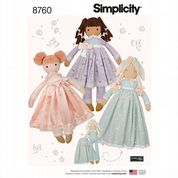 "8760 Simplicity Pattern: 25"" Doll and Clothes"